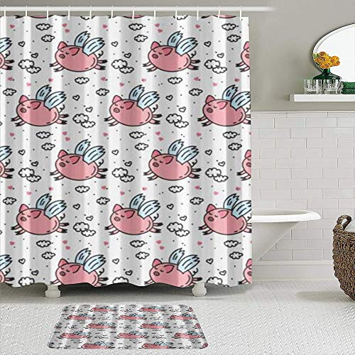 Ngkaglriap Duschvorhang Sets mit rutschfesten Teppichen,Nettes fliegendes Schwein Humorwolkenherz, Badematte + Duschvorhang mit 12 Haken