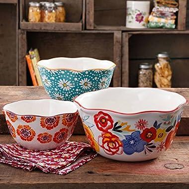 Flea Market Wavy Nesting Bowl Set, 3-Piece,The Pioneer Woman