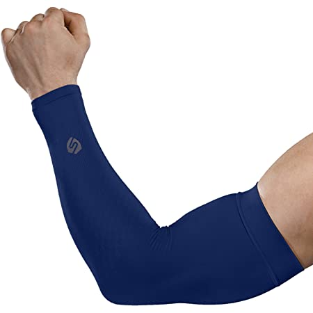 Football Basketball Golf KINGBIKE UV Protection UPF 50 Compression Cooling Fabric Arm Sun Sleeves for Men Women Youth,with Reflective Strip for Cycling white2, Small Running Outdoor Sports