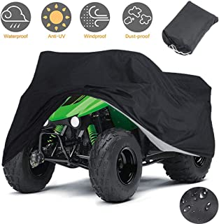 Best Indeedbuy Waterproof ATV Cover, 420D Heavy Duty Ripstop Material Black Protects 4 Wheeler from Snow Rain or Sun,102
