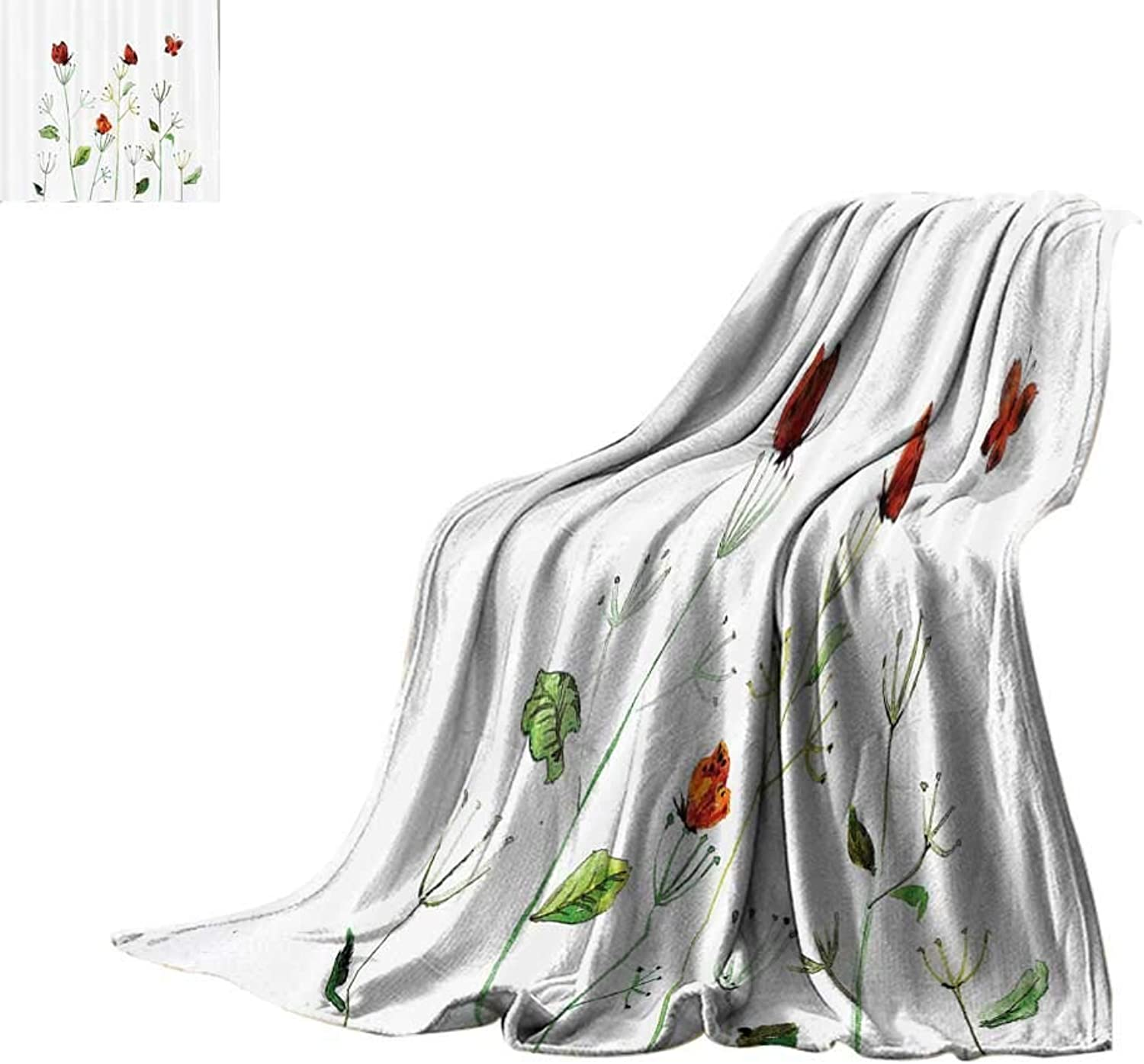 Lightweight Blanket Butterflies Decorations Collection,Wildflower Garden with Butterflies Summertime Joy Happiness Theme Artwork,White Red Green Print Summer Quilt Comforter Bed or Couch 60 x35