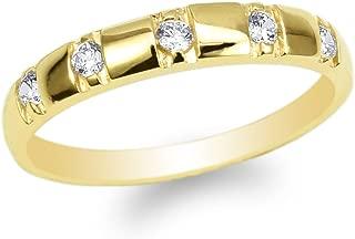 JamesJenny Ladies 10K Yellow Gold Round CZ Wedding Pattern Band Ring Size 4-10