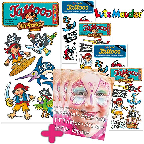 6-teiliges Tattoo-Set * Pirat Pit Planke * vom Mauder-Verlag | Kinder Kindertattoo Tatoo Tatto Kindergeburtstag Geburtstag Mitgebsel Piraten Kinderpiraten