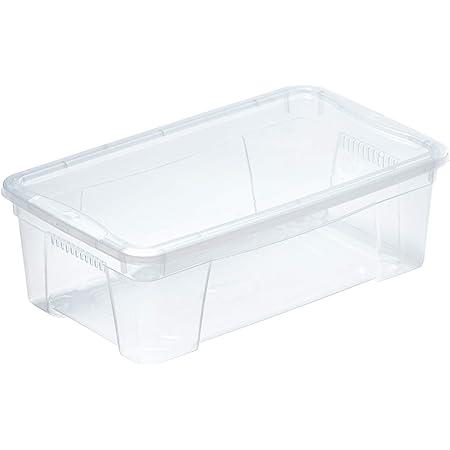 M-Home | Box Transparent avec Aérations + Couvercle | Plastique | Transparent | 35,5 x 21 x 12,5 cm / 5,7 L | M- BOX 2 | PLS612
