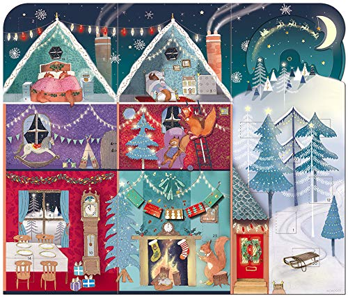 Great B Advent Christmas Calendar with 24 Doors and White Mailing Envelope 3 D Festive Squirrels - SQUIRREL HOUSE 350 mm x 353 mm Medici ACA0001
