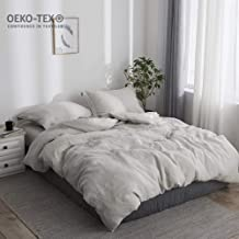 Simple&Opulence 100% Stone Washed Linen Solid Color Basic Style King Queen Twin Full Duvet Cover Sets (Linen, Full)