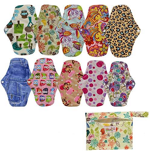 OHBABYKA Bambus wiederverwendbare Damenbinden Pads / Tuch Menstruation Pads für Frauen, (M, 10Pcs-mehrfarbig)