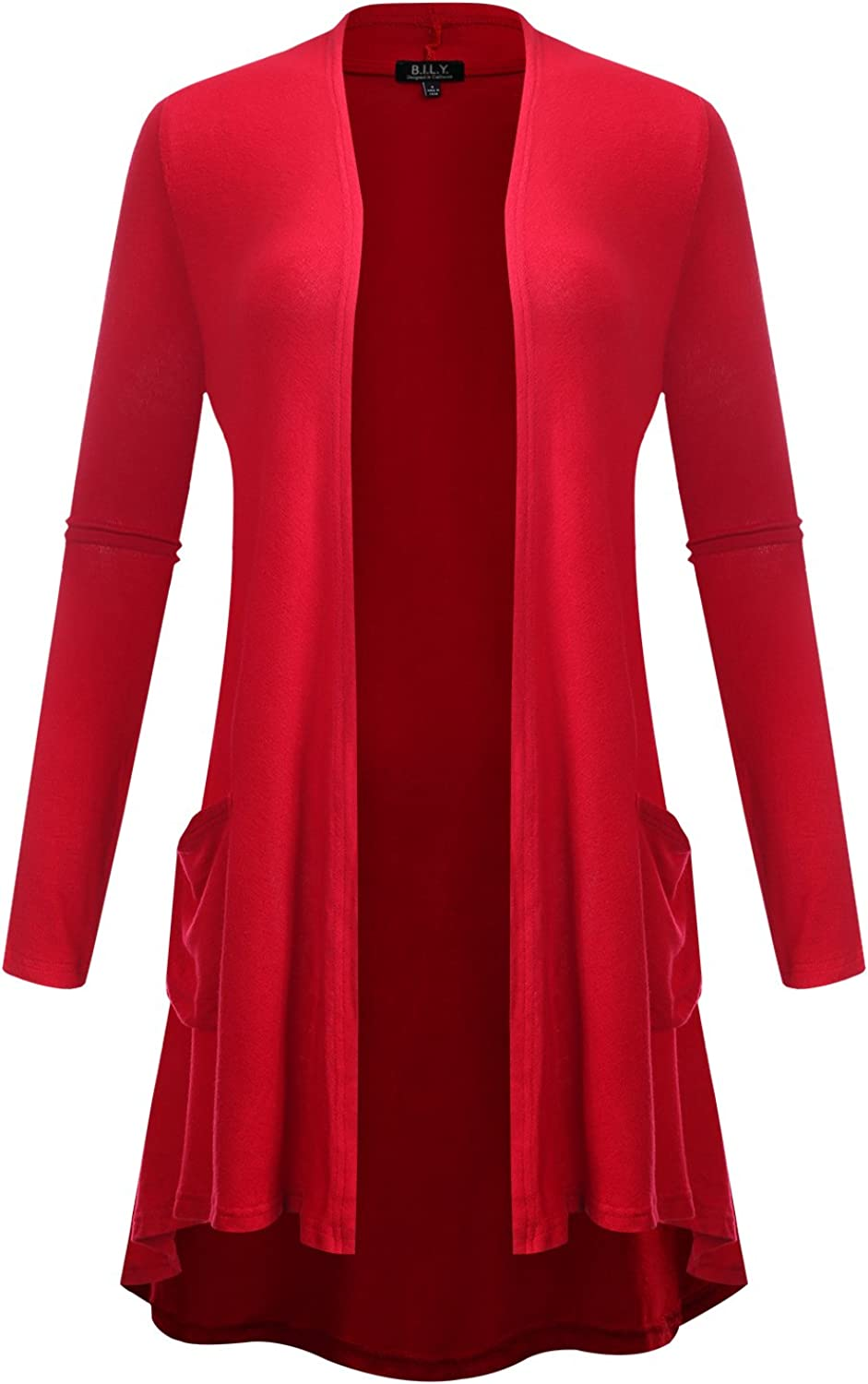 BILY Women's Open Front HighLow Long Sleeve Front Pockets Cardigan Red XXLarge