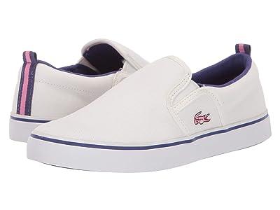 Lacoste Kids Gazon 319 1 (Little Kid) (Off-White/Purple) Kid
