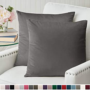 The Connecticut Home Company Luxurious Velvet Throw Pillow Cases, Set of 2 Decorative Case Sets, Square Pillow Covers, Soft Pillowcases for Living Room, Bedroom, Couch, Sofa, Bed, 18x18, Charcoal