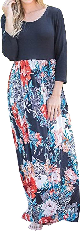 Evoky Women's Floral Print Long Sleeve Loose Plain Maxi Dresses Casual Long Dresse Maxi Dresses