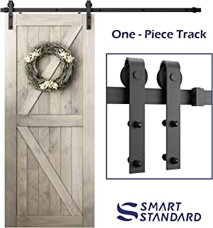 SMARTSTANDARD 6.6 Foot One-Piece Track Sliding Barn Door Hardware Kit -Smoothly and Quietly -Easy to Install -Includes Step-By-Step Installation Instruction, Fit 36