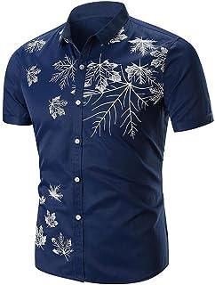 Camiseta para Hombre,RETUROM Camisa de Botones de los Hombres Ocasionales Camisa de Cuello de los Hombres de Mandar/ín Camisas de Esmoquin