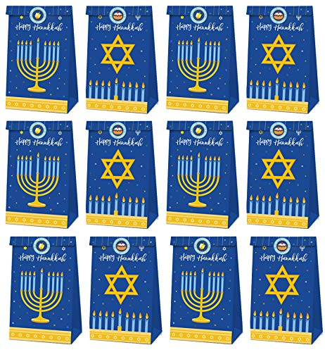 12PCS Hanukkah Party Favor Bags - Happy Holiday Chanukah Birthday Party Supplies Favors Decorations Gift Bags