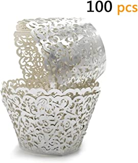 GOLF 100Pcs Cupcake Wrappers Artistic Bake Cake Paper Filigree Little Vine Lace Laser Cut Liner Baking Cup Wraps Muffin CaseTrays for Wedding Party Birthday Decoration (Silver)