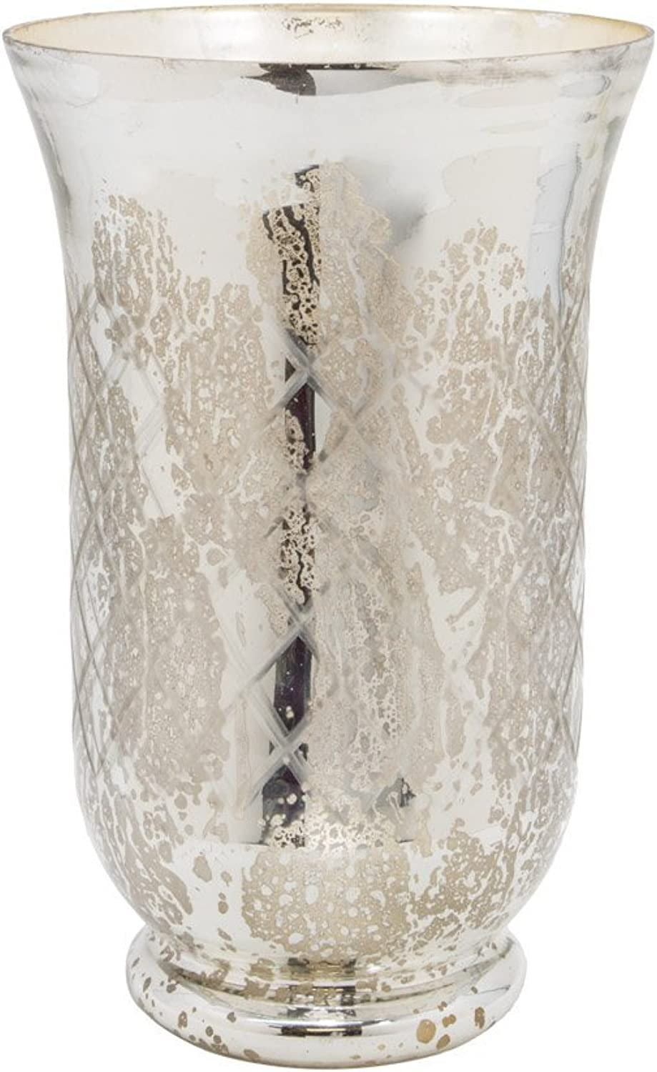 "Serene Spaces Living Antique Silver Etched Hurricane – Handmade , Vintage-Inspired Mercury Glass Vase Adds Elegance to Any Space - Use for Home Décor, Event Centerpieces and Much More, 12"" H x 7.5"" D"