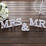 AONER MR & MRS Deko Buchstaben Hochzeit (inkl. Banner JUST Married) Dekobuchstaben Girlande Dekoration (Weiß) - 4
