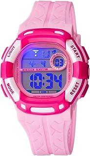 Kids Watch Sport Multi Function 30M Waterproof LED Alarm Stopwatch Digital Child Wristwatch for Boy Girl Rose Pink