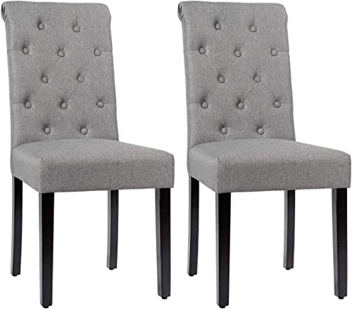 high quality Giantex Upholstered Accent Dining Chairs Set of 2, Dining Side Chairs w/Adjustable Anti-Slip Foot Pads, High Back, Sturdy Wood Legs, High Back Tufted outlet online sale Parsons Chair for Kitchen Dining outlet sale Room (2, Grey) online sale
