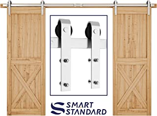 SMARTSTANDARD 10FT Heavy Duty Double Gate Sliding Barn Door Hardware Kit, Two-Piece Track Rails, Stainless Steel, Smoothly and Quietly, Easy to Install, Fit 30
