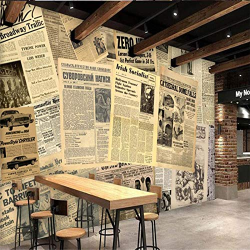 Custom Wallpaper European and American Old Newspaper Bar Cafe Background Wall Decorative Painting