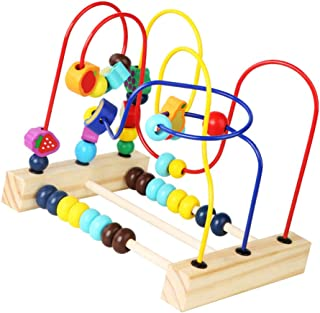 NUOBESTY Wooden Bead Maze Toys Games Fruit Beads Roller Coaster Wooden Beads Abacus Educational Toys Gift for Toddlers