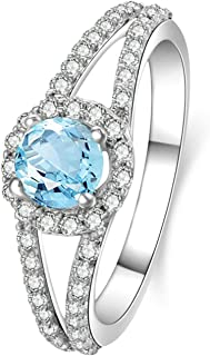 925 Sterling Silver Rings for Women 5MMx5MM Topaz Ring Band Cubic Zirconia Rings Round Ring