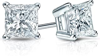 14 KT Gold Plated Sterling Silver (925 kt) Princess Stud Earrings AAA Cubic Zirconia 3.66 Ct