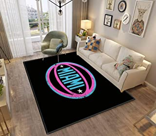 Miami Retro Ball Black 2 Area Rugs Non-Slip Floor Mat Doormats Home Runner Rug Carpet for Bedroom Indoor Outdoor Kids Play Mat Nursery Throw Rugs Yoga Mat