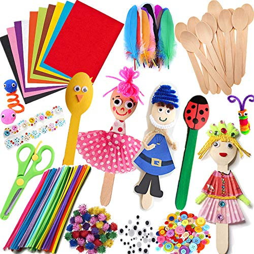Kid Crafting Supplies Kits Including Wooden Spoons, Pipe Cleaners, Felts, Self-Adhesive Wiggle Eyes, FeatherS, Origami Papers, Glitter Pom Poms, Buttons and Rhinestones for Kids Art Craft activity