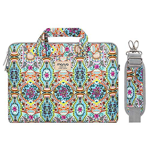MOSISO Laptop Shoulder Bag Compatible with 13-13.3 inch MacBook Pro, MacBook Air, Notebook Computer, Pattern Briefcase Sleeve with Trolley Belt, Green National Printing