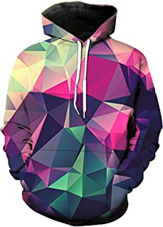 Cosplaysky Unisex Geometric Designs Printed Hoodie Big Pocket Pullover Sweatshirt
