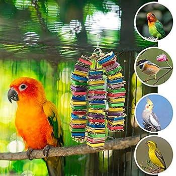 Jouets À Mâcher pour Oiseaux, Furpaw Suspendue Colorée Blocs Jouets avec Ficelle de Jeu pour Perroquet en Bois - 3PCS