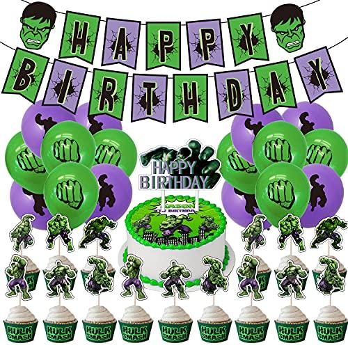 Invincible Hulk Party Favours Sets für Geburtstagsfeier, teiliges Hulk Theme Party Supplies Kit enthält Geburtstagsbanne für Kinder, Erwachsene, Fans von Marvel Heroes-Geburtstagsfeierdekorationen.