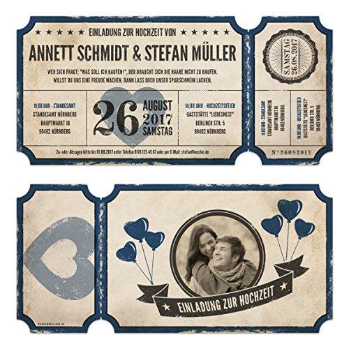 20 x Lasergeschnittene Foto Hochzeitseinladungen Hochzeitskarten - Retro Vintage Ticket Luftballons Blau