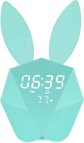Bunny Rabbit Alarm Clock LED Night Light Voice Control Sound Sensitive Time Temperature Digital Display Strong Magnetic Adsorption Li Ion Battery Rechargeable Baby Gift Macaron Blue