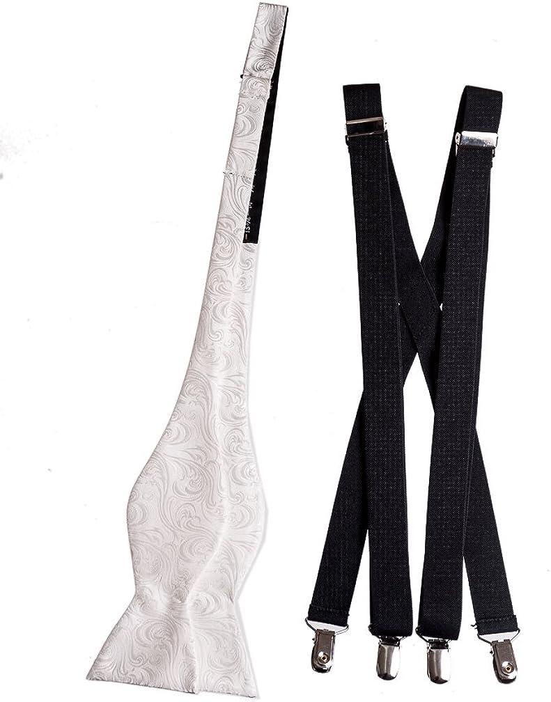 Men's Self Tie Bow Tie and Suspender Set Imperial Paisley Black 9 Colors