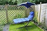 Tumbona Oscilante colgantes tumbonas Dream Chair Tumbona de jardín tumbona de jardín azul con Cómodo cojín, almohada y toldo grande