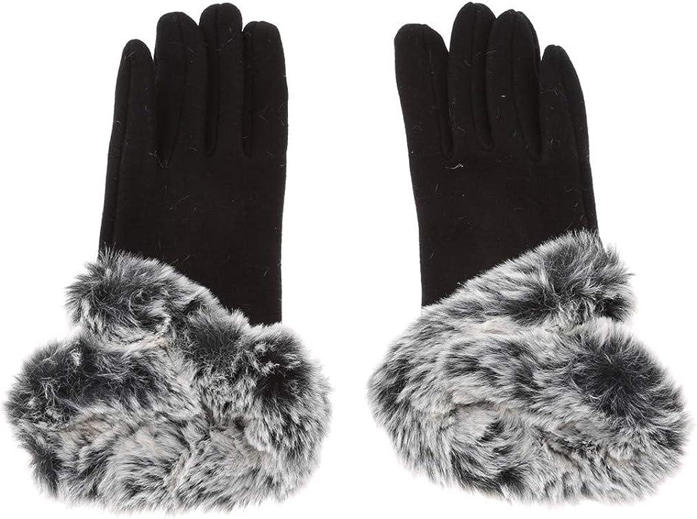 Sevenfly Winter Women Faux Wool Gloves Touchscreen Texting Lining Knit Mitten Fluffy Plush Cuff