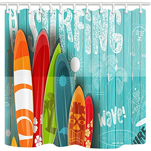NYMB 3D Digital Printing Summer Surfing Shower Curtain,...