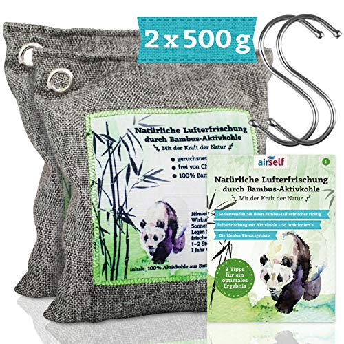 Lufterfrischer für die Wohnung, 2x500g – natürlicher & effektiver Geruchsentferner mit Bambus Aktivkohle
