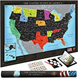 Wond3rland Premium Scratch Off USA Map   Unique Wall Map Poster   Deluxe Gift for Travelers & Travel Tracking   Bonus Adhesive & Memory Stickers + Scratching Tool + Wiping Cloth + Traveling eBook