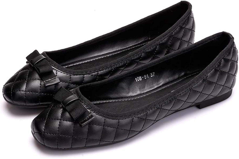 Phil Betty Women Flats shoes Bow-Knot Square Toe Shallow Slip-On Dress Flats shoes Black