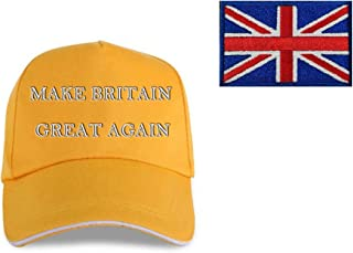 2-Piece Set Make Britain Great Again Brexit Hat Great British Union Jack Patch Embroidered England Flag UK Velcro Sew on Patch Badge Military Fan Political Prime Minister Republican Party/B/U