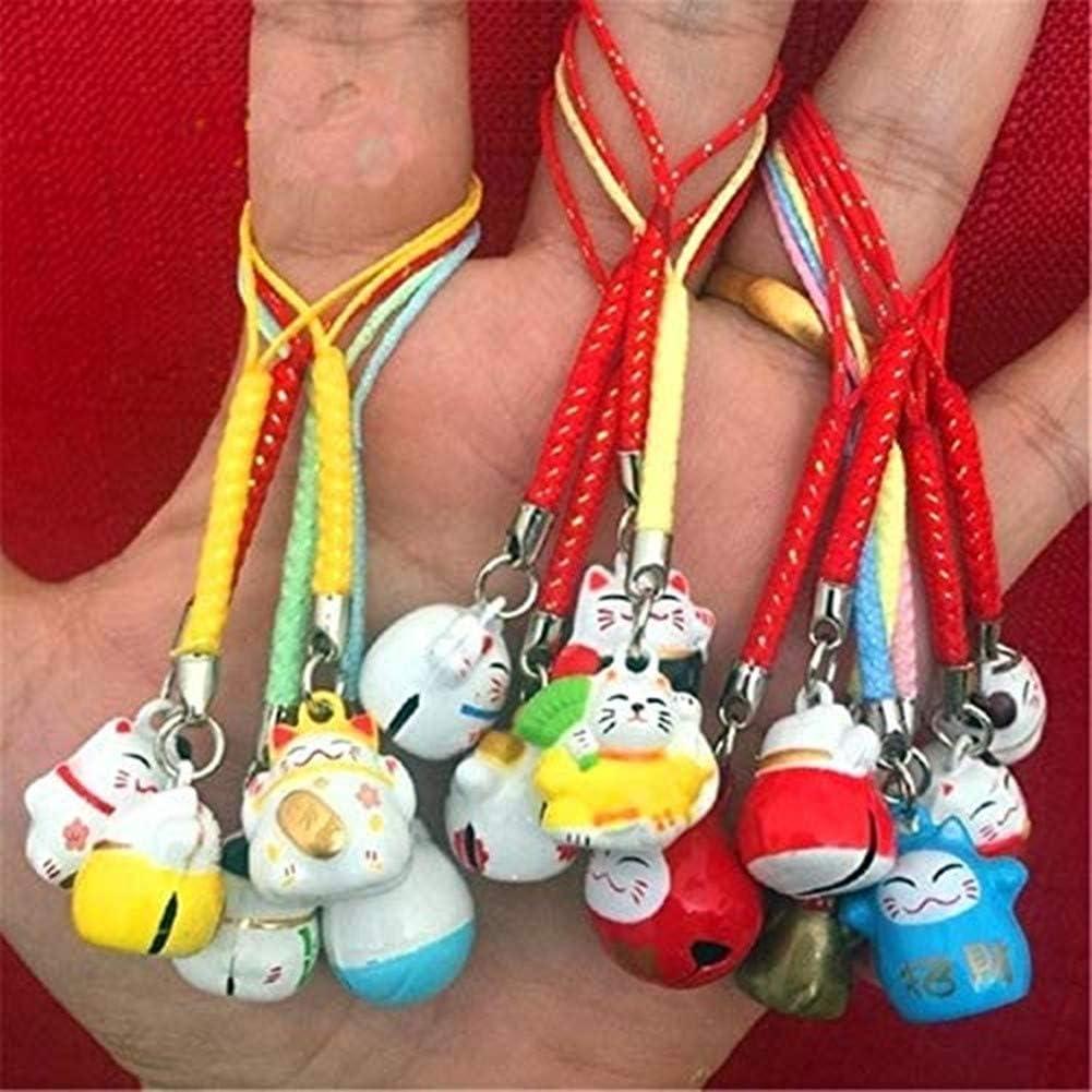 CUTE Japanese Maneki Neko Lucky fortune cat bell keychain charm mascot Carp Pin