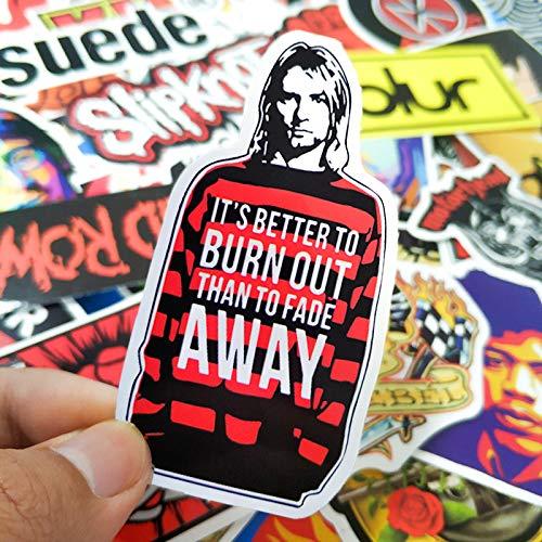 BLOUR 52 Stück Rock'n'Roll Musik Retro Band Aufkleber Nirvana Graffiti JDM Gitarre Motorrad Laptop Laptop Skateboard Aufkleber Aufkleber