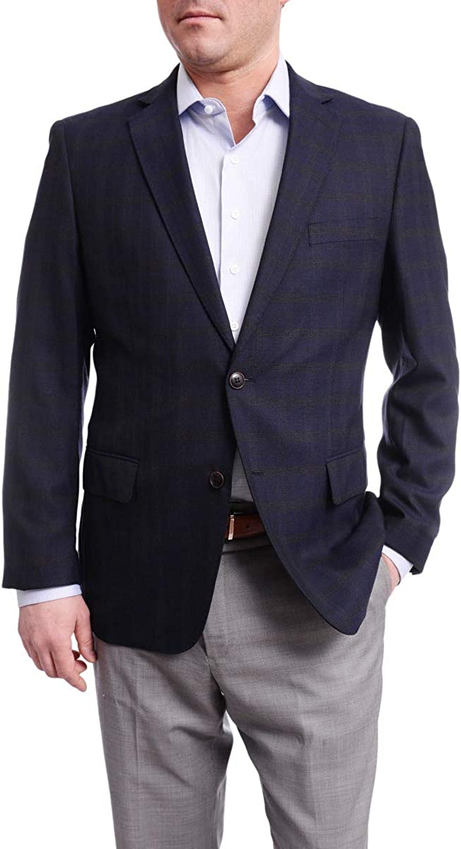 Arthur Black Classic Fit Blue with Brown Plaid Two Button Wool Blazer Sportcoat