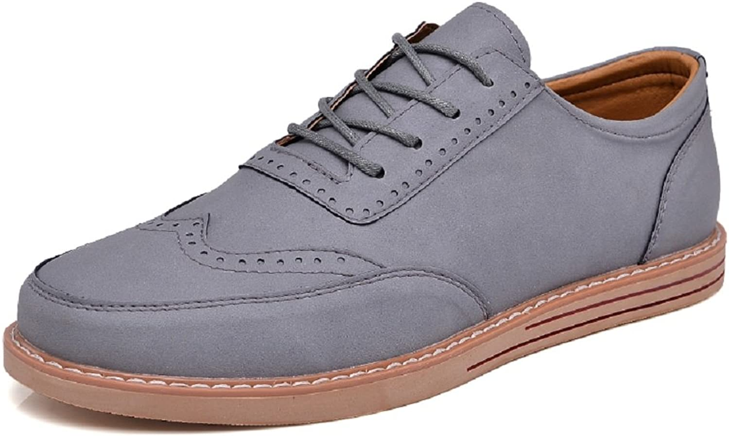 QISHENG Men's Fashion Oxfords shoes Leisure Lace-up Unique Handmade Leather shoes Lightweight Comfortable Formal shoes