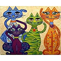 5DDIYダイヤモンド絵画「漫画猫」クロスステッチ5D家の装飾40x60cm