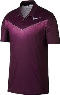 NIKE Dry Fit Chevron Print Golf Polo 2017 Bordeaux/Hyper Pink/Flat Silver Large